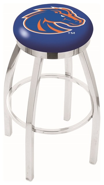 25 Quot Chrome Boise State Swivel Bar Stool With Accent Ring