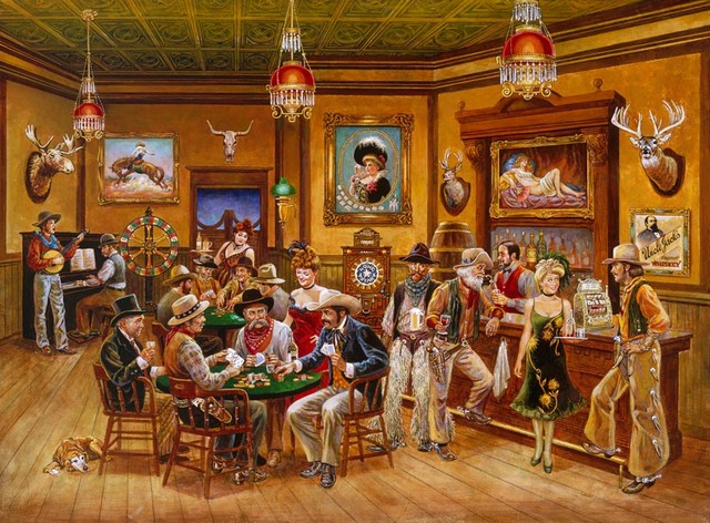 Western saloon wall mural contemporary wallpaper by for Cowboy wall mural