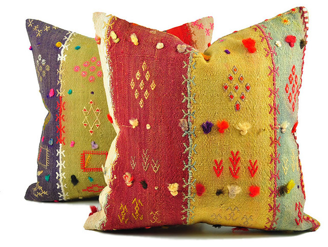Turkish Kilim Floor Pillow : Turkish Kilim Pillow Covers, Set of 2 - Mediterranean - Floor Pillows And Poufs - by Islimi design