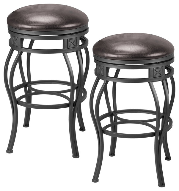 Monarch 30 Quot Backless Swivel Bar Stool Old Steel W Brown