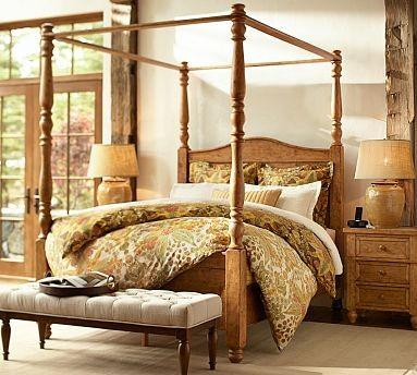 Cortona Canopy Bed Extra Wide Dresser Full Vintage Spruce Finish Tr
