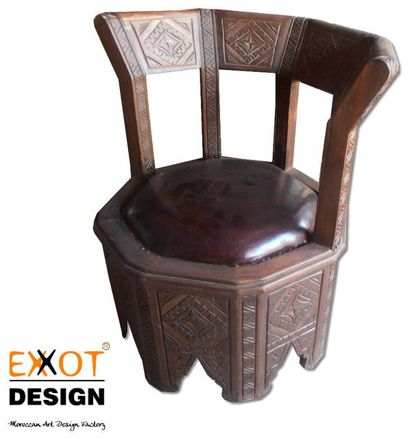 Moroccan Themed Accent Chair: Moroccan Wooden And Italian Leather Handmade Chair