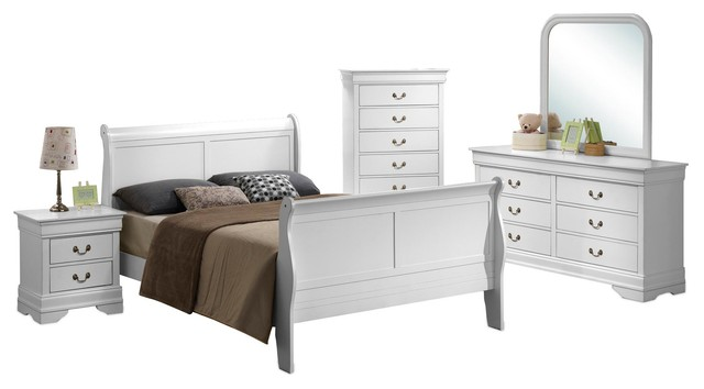 5 Piece Louis Philippe White Sleigh Bedroom Collection