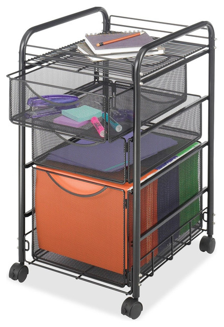 Black Steel Mesh Metal Mobile Filing Cabinet With 2-Drawers and Wheels - Contemporary - Filing ...