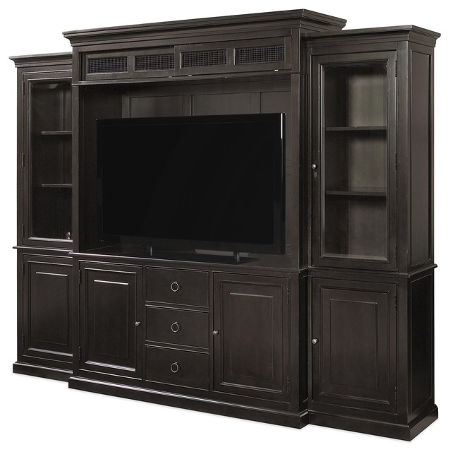 Country-Chic Maple Wood Black TV Entertainment Wall Unit - Traditional - Entertainment Centers ...