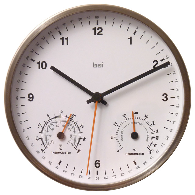 bai 6 stainless steel weather station wall clock white contemporary wall clocks by bai. Black Bedroom Furniture Sets. Home Design Ideas