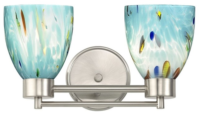 Blue Glass Vanity Light : Modern Bathroom Light with Blue Glass in Satin Nickel Finish - Modern - Bathroom Vanity Lighting ...