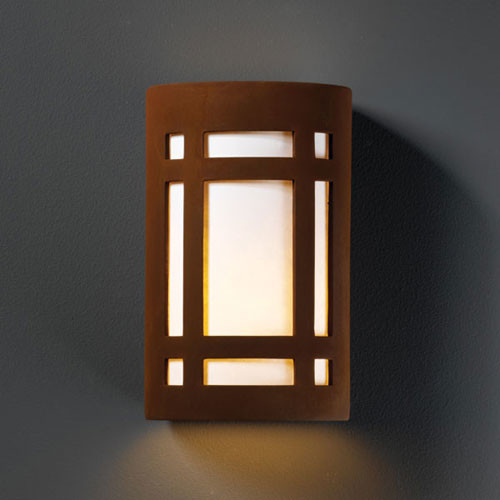 Ambiance real rust large craftsman window two light for Modern craftsman lighting