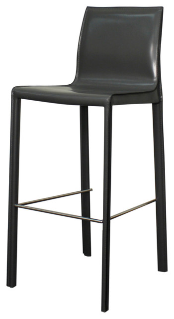 Gervin Recycled Leather Bar Stool Anthracite Set Of 2 Modern Bar Stools
