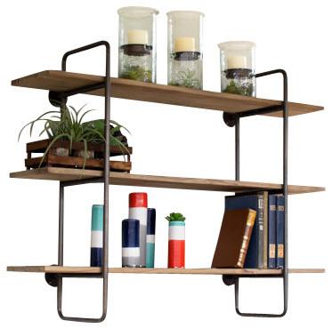 three tiered metal tube frame wall shelf wooden shelves. Black Bedroom Furniture Sets. Home Design Ideas