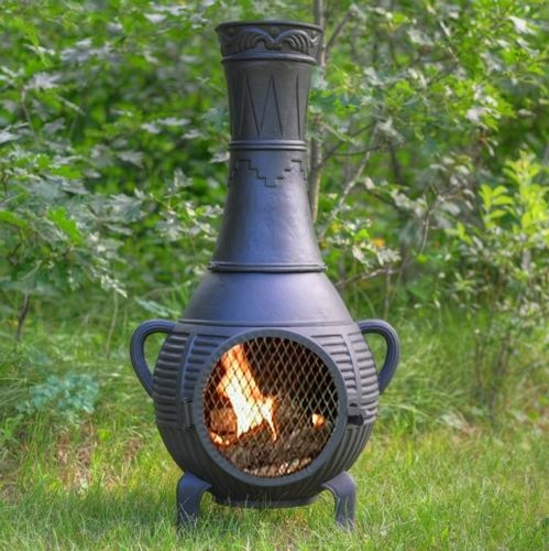 The Blue Rooster Pine Style Cast Aluminum Chiminea