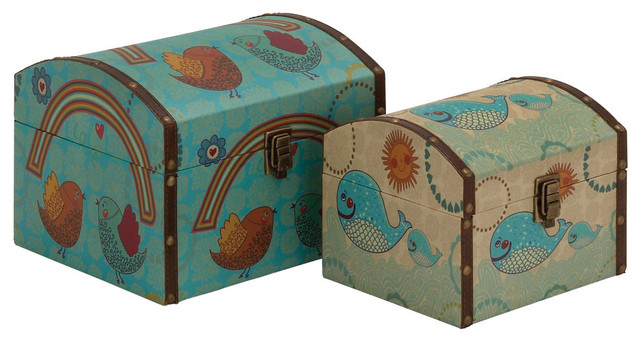Classy Styled Wood Canvas Box Contemporary Decorative Boxes By