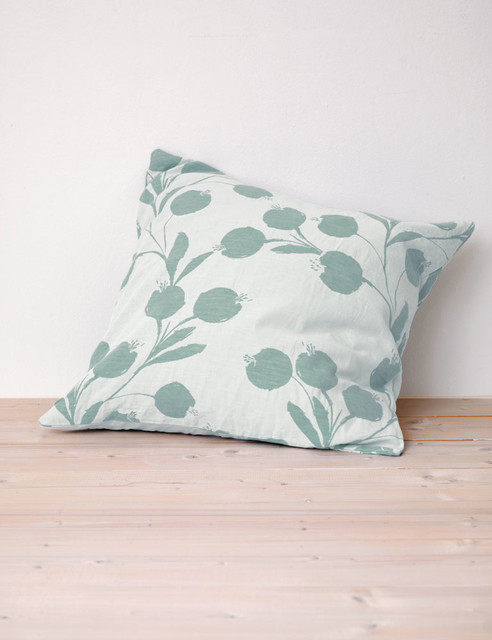 Eclectic Pillow Cases : Botanic Duck Egg Cushion Cover - Eclectic - Pillowcases And Shams - south east - by Secret Linen ...