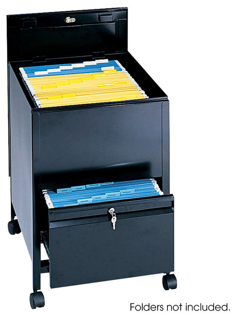 Locking Mobile Tub File with Drawer, Legal Size - Black - Modern - Bathtubs