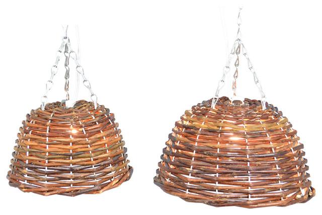Hanging Bowl Light Set 2 Brown