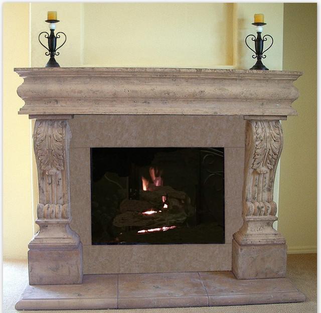 acanthus cast fireplace mantel mediterranean