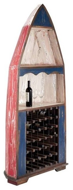 Boat Hull Shaped Antique Wine Cabinet In Mahogany
