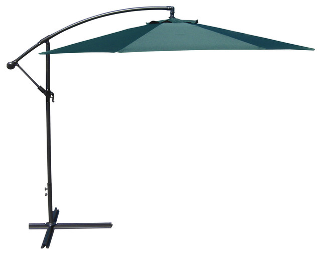 Green 10 Ft Cantilever Offset Patio Umbrella With Crank