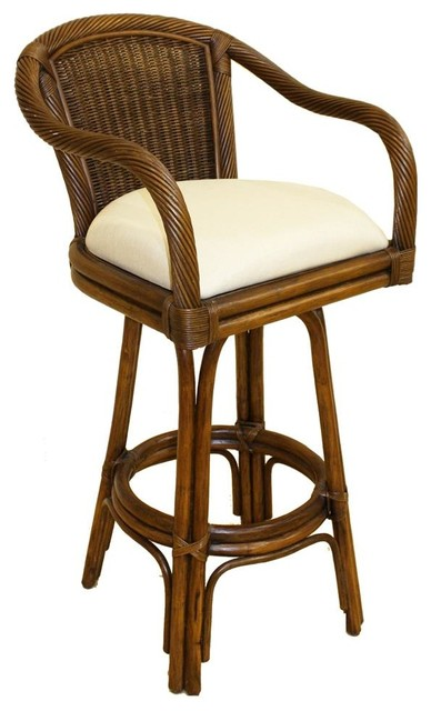 Indoor Swivel Rattan amp Wicker 30 in Bar Stool Beach  : tropical bar stools and counter stools from www.houzz.com size 388 x 640 jpeg 49kB