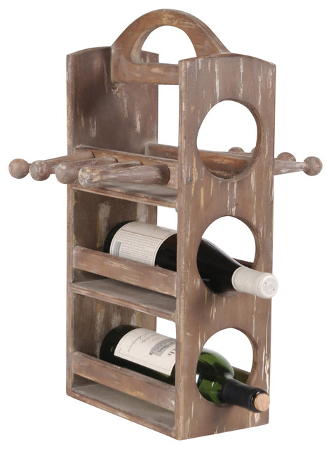 Wood 3-Bottle Upright Wine Rack - Farmhouse - Wine Racks - by Wilco Home