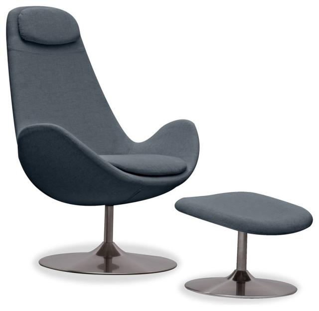 Loungesessel houston grau hoch mit hocker modern for Loungesessel mit hocker