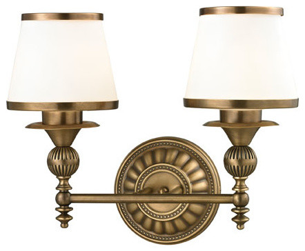 Vanity Lights Brass : Smithfield Aged Brass Two Light Bath Fixture - Modern - Bathroom Vanity Lighting