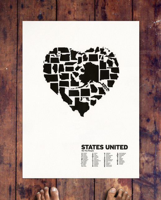 States United Letterpress by Beauchamping - Contemporary - Artwork - by Etsy
