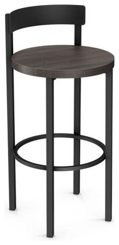 Low Back Nonswivel Stool With Wood Seat Counter Height