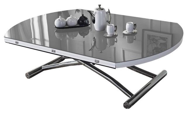 Table basse ronde relevable et extensible planet grise contemporary coff - Table extensible grise ...