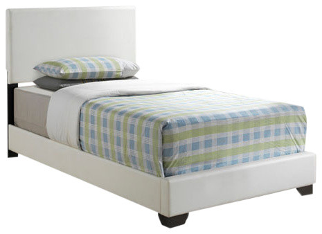 Bed Twin Size White Leather Look Fabric Modern Panel