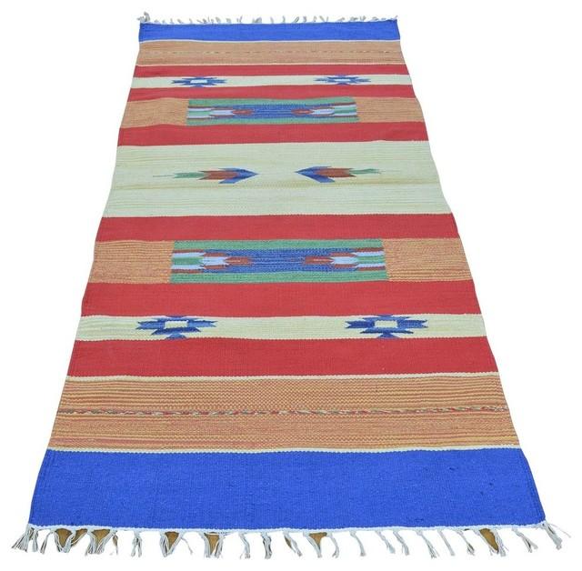 Flat Weave Kilim Hand Woven Runner Navajo Design Oriental