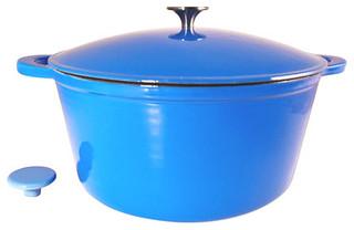 Le Chef Enamel Cast Iron Blue Round Dutch Oven 10-qt. - Modern - Dutch ...