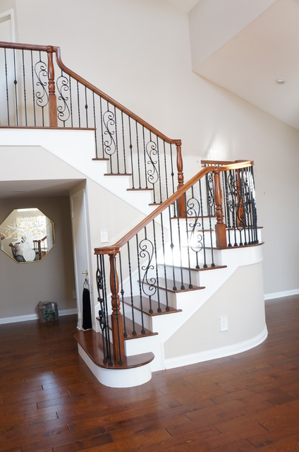 Wood And Iron Railings Traditional Staircase Orange County By Beach City Stairs