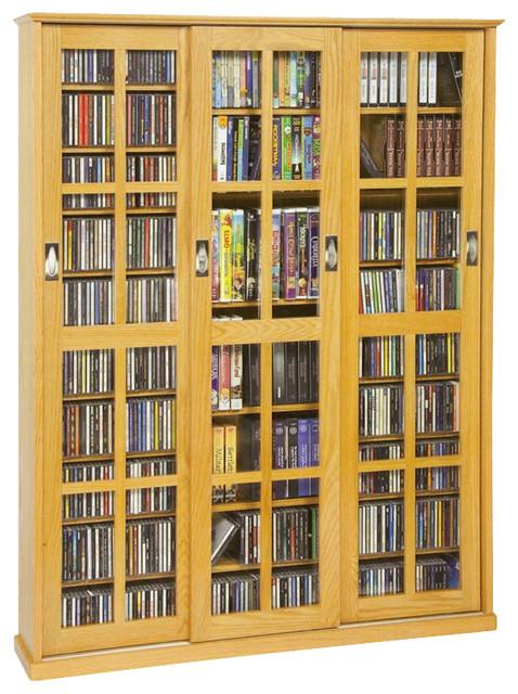 Leslie Dame Triple CD/DVD Wall Rack Media Storage in Oak ...