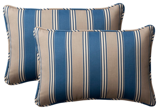 Hamilton Blue Oversized Rectangle Throw Pillow, Set of 2 - Transitional - Outdoor Cushions And ...