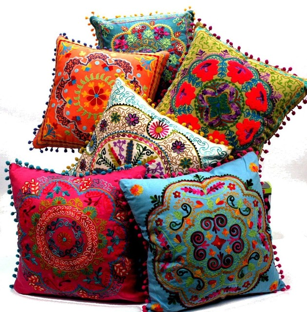 Eclectic Pillows : Embroidered Botanical Square Pillow - Eclectic - Decorative Pillows - by Amazon