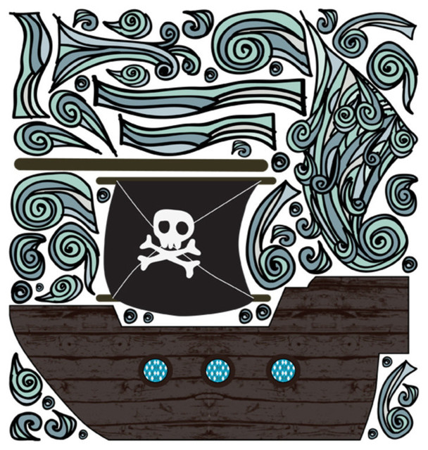 Fabric decals pirate boat contemporary kids wall for Kids pirate fabric
