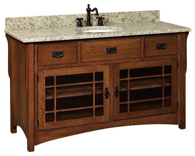 Landmark Bathroom Vanity Oak Natural Glass Door Craftsman Bathroom Vanities And Sink