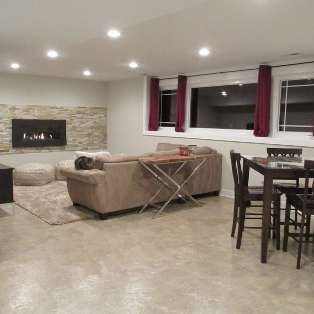 Refinished Basement Cozy And Contemporary Entertainment