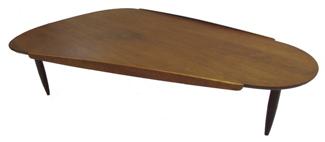 Round Edge Triangular Walnut Coffee Table Midcentury