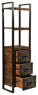 Reclaimed Wood And Metal 3 Drawers Bookcase - Bookcases - by Meva