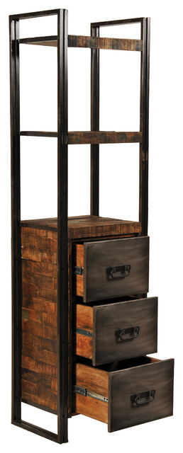 Reclaimed Wood And Metal 3 Drawers Bookcase Bookcases By Meva