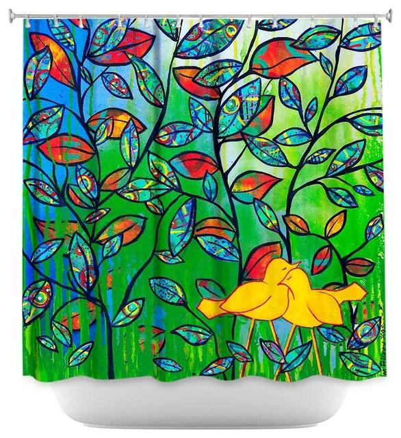 Shower Curtain Artistic - Love Birds - Modern - Shower Curtains - by ...