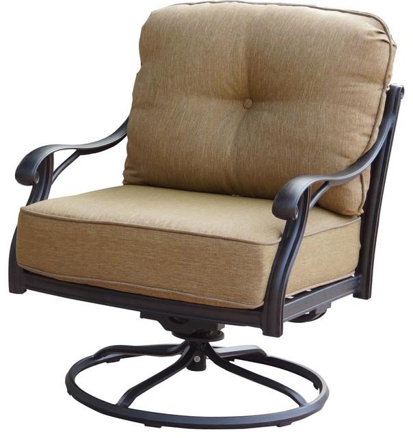 Darlee nassau cast aluminum swivel rocker patio club chair for Modern swivel accent chair