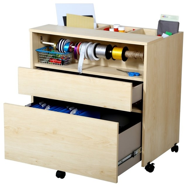 South Shore Crea Craft Storage Cabinet On Wheels Natural