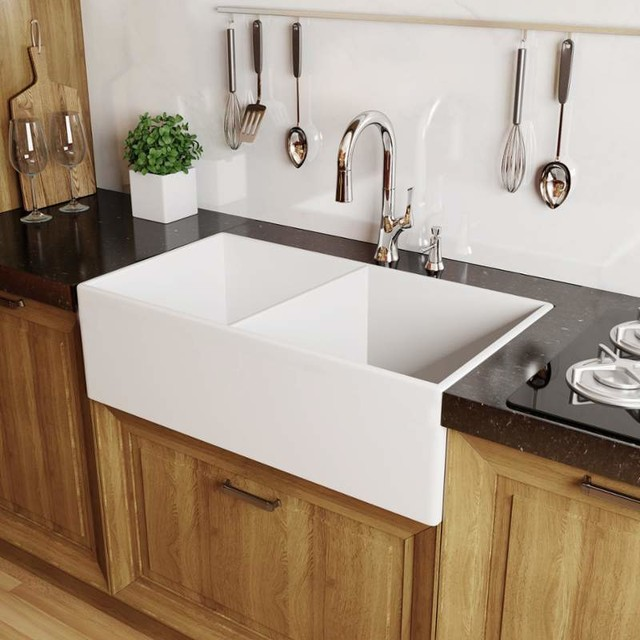 33 Farmhouse Sink White : MNO3320FC Modena 33