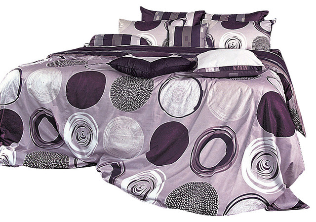 Purple Gray Circle And Stripe Pattern Sheet Set, Queen ... - photo#11