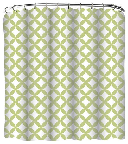 Green Geometric Shower Curtain Set Modern Shower Curtains