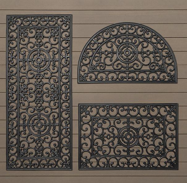 Fleur De Lys Rubber Doormat Traditional Doormats By
