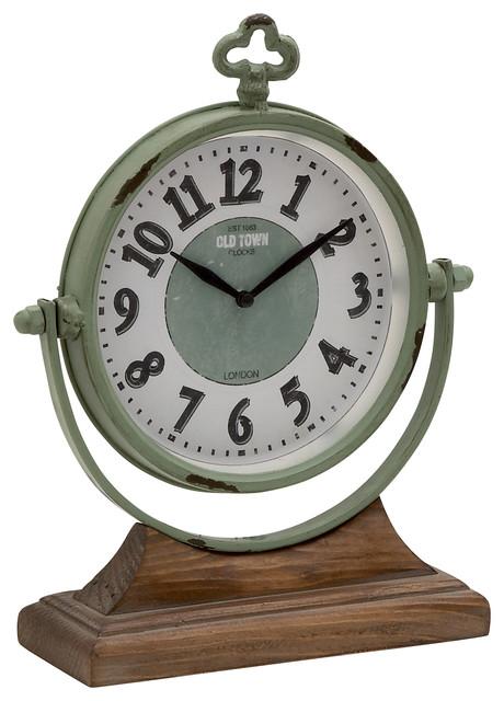 Metal Wood Table Clock Modern Desk And Mantel Clocks